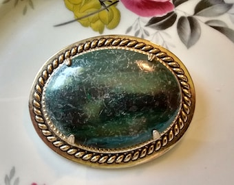 Green Gemstone Brooch: