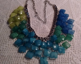 Blues and Greens Colorful Necklace:
