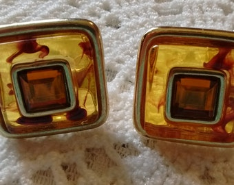 Three Styles of Amber Earrings:  Joan Rivers/Hobe