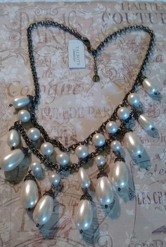Talbot's Acorn Faux Pearl Vintage Necklace: