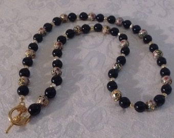 Black Bead and Cloissone Necklace:   Price Reduced  4/4