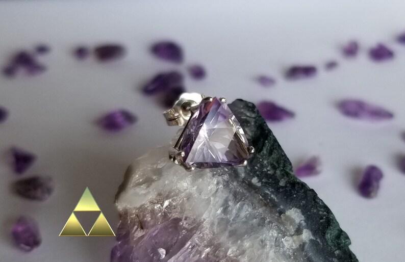 The Legend of Zelda Triforce Amethyst Gemstone Single Stud Earring Gem ID Tri003 Push Back