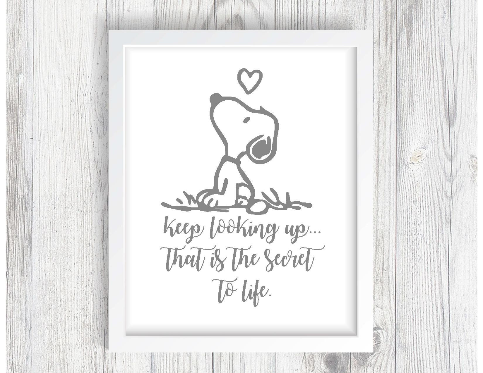 Snoopy Keep Looking Up Quote Svg Digital File Etsy