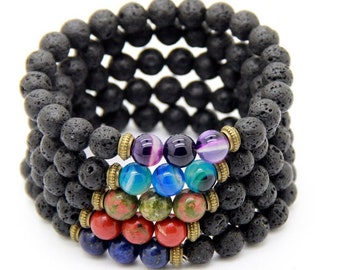 Lava stone with accent beads bracelet