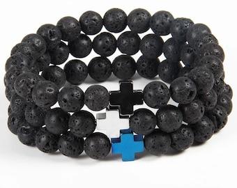 Lava Bead with Cross Bracelet