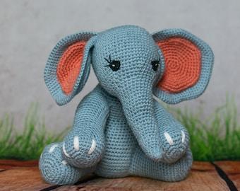 Blue Elephant Plush, Handmade Toy for Kids, Stuffed Animal