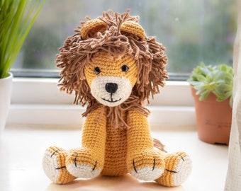 Crochet Lion Plush Toy, Stuffed Animal, Safari Nursery Decor, Baby Gift