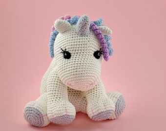 Handmade Unicorn Plush Toy, Stuffed Animal Gift for Kids and Baby