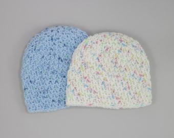 Handmade Newborn Hat with colourful print, Preemie, Newborn and 0-3months