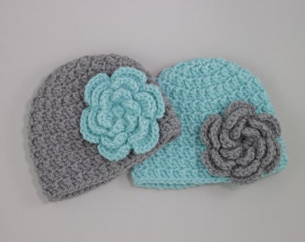 Handmade Baby Hat with Teal Flower for infant, toddler, and kids