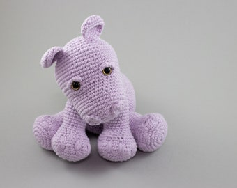 Handmade Hippo Plush, Stuffed Animal Cotton Baby Toy, Lilac Nursery Decor, Baby Boy Gift