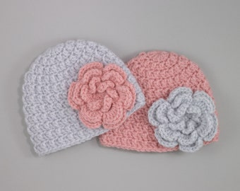 Pink Baby Hat with Flower, Handknit baby beanie for kids, toddler and baby.
