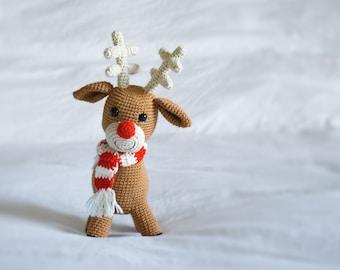 Reindeer Stuffed Animal, Christmas Decor, Crochet Toy