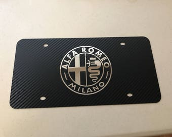 Alfa Romeo Stainless Steel carbon fiber wrapped front license plate with screw caps