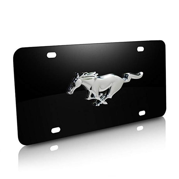 3D Ford Mustang Mirror Stainless Steel License Plate Frame 2PCS Front /& Back