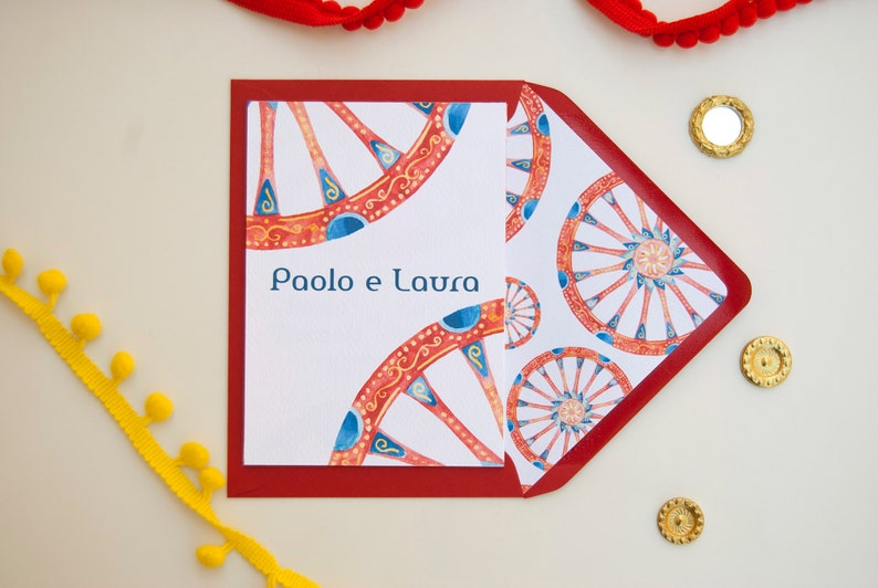 Sicilian wedding cards sicilian cart invitations Red envelope