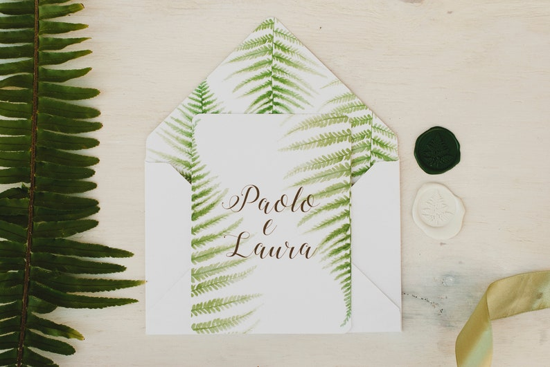 Green fern wedding cards country wedding invitations with Craft Envelope #1