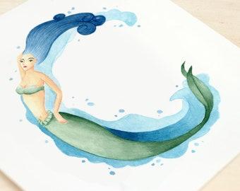 Initial mermaid - art print