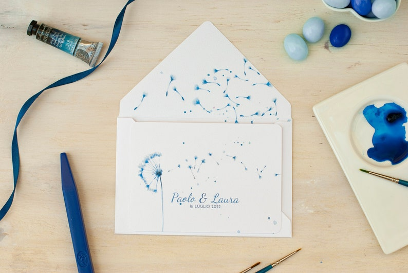 Dandelion wedding cards country wedding invitations with Craft Envelope #1