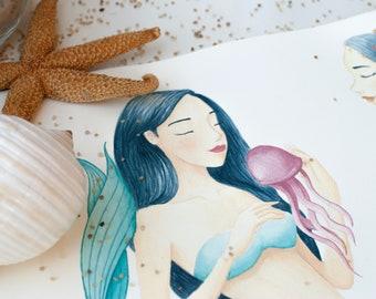 lovely mermaid - art print