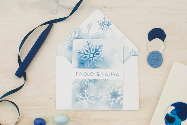 Winter wedding cards ice crystals watercolor image 0