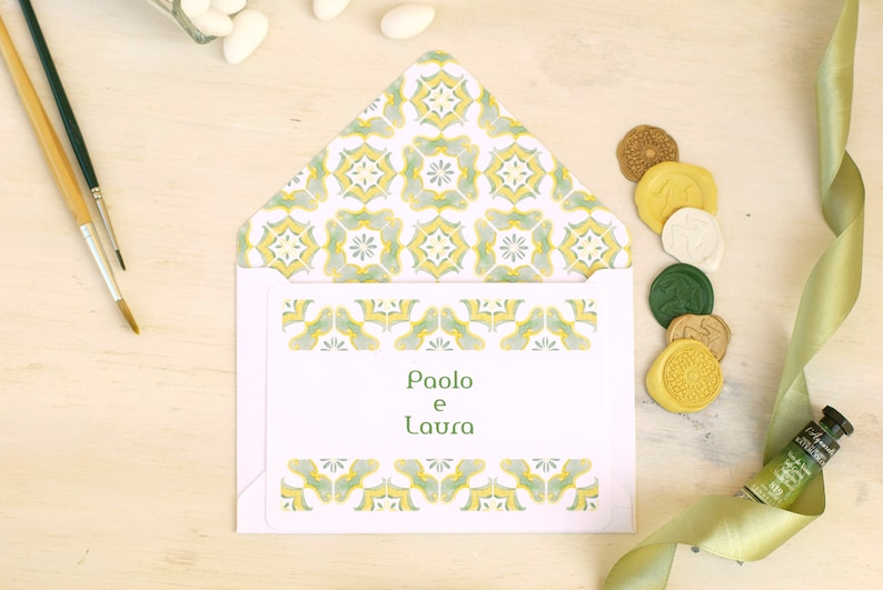 Yellow tile invitations card Craft Envelope #1