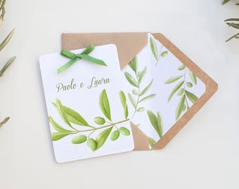 Olive Branch Wedding Invitation, Watercolor Olive Leaves, Rustic Invitation Cards