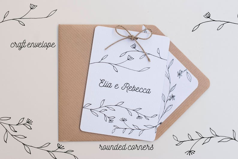 minimal country floral wedding cards Craft Envelope #2