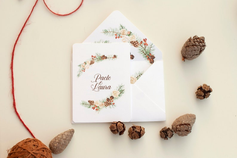 winter wedding cards with flowers illustration image 0