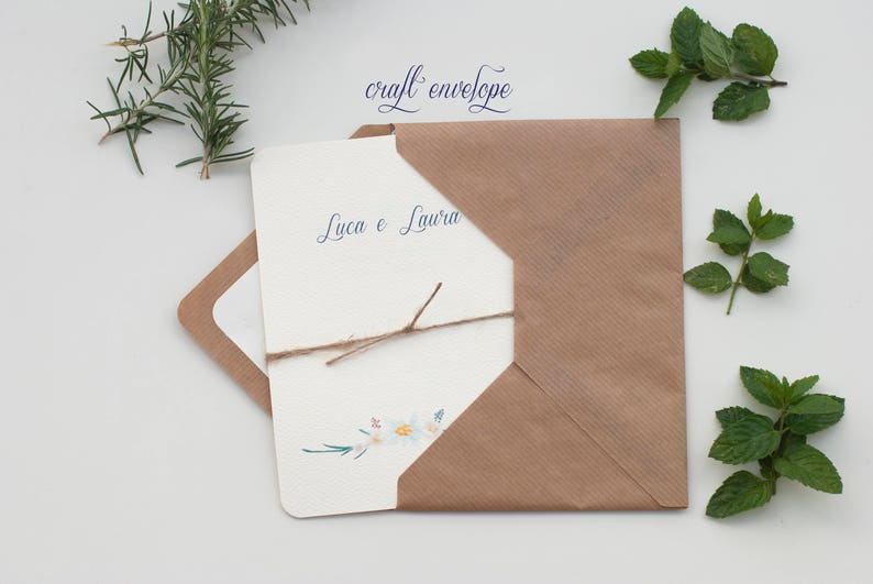 wedding invitation with berries and edelweiss drawings Craft Envelope #2