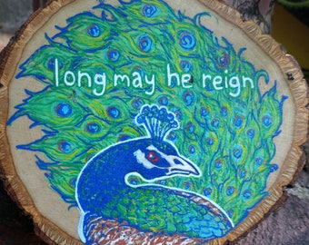 Mollymauk Tealeaf Critical role Critrole Art on Wooden Slices, Acrylic on Wood, Natural Original Wall Hanging Long May He Reign