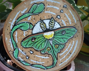 Luna Moth Art on Wooden Slices, Acrylic on Wood, Natural Original Wall Hanging