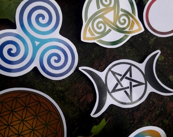 Pagan and Wiccan symbol stickers Pentacle Triple Goddess Triqueta Ankh Om Triskele Flower of Life Tree of Life