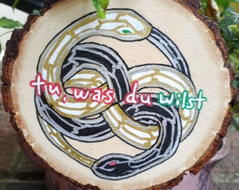 Auryn Neverending Story Ouroboros Art on Wooden Slices, Acrylic on Wood, Natural Original Wall Hanging