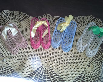 Vintage hand crocheted and starched dainty high heels, dresser, vanity decorations