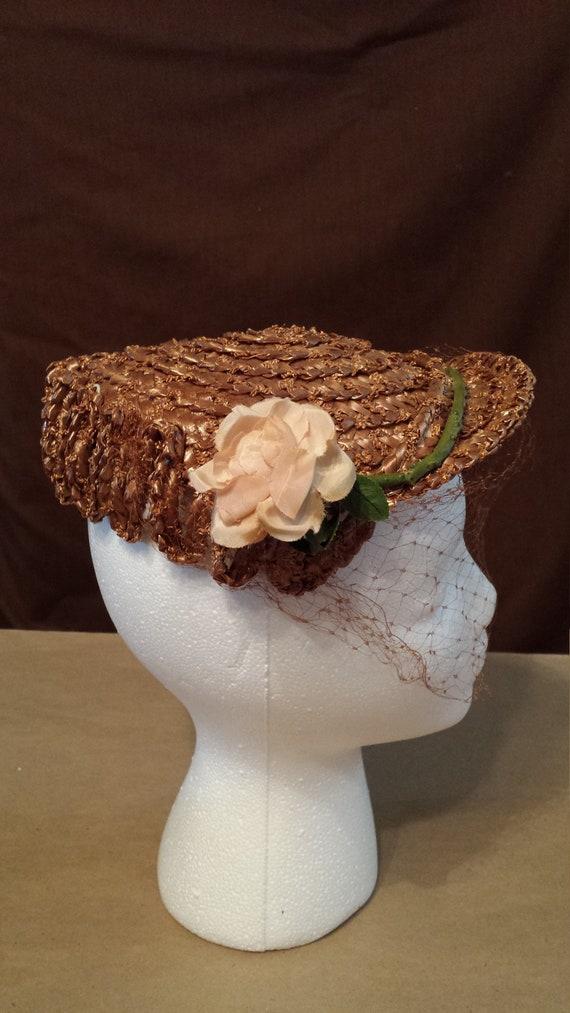 Vintage brown straw ladies hat