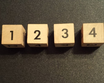 Vintage wood game blocks, numbers