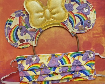 Combo Pack: Rainbow Figment (Gold Bow) Mouse Ears and Face Mask