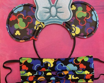 Combo Pack: Black & Brights Mousefetti (Blue Bow) Mouse Ears and Face Mask
