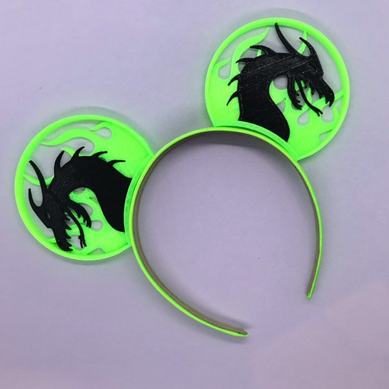Maleficent Fire Dragon 3d Printed Mouse Ears Disney Ears