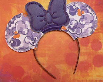 Purple Mousefetti Vinyl Embroidered Mouse Ears with Purple Bow
