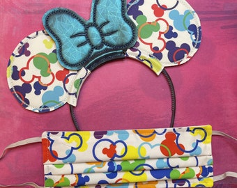 Combo Pack: White & Brights Mousefetti (Geometric Blue Bow) Mouse Ears and Face Mask