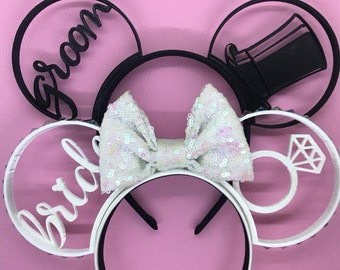 Bride and Groom Ears Wedding Combo 3D Printed Mouse Ears