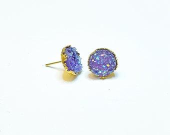 Lavender Druzy and Gold Crown Stud Earrings 12mm
