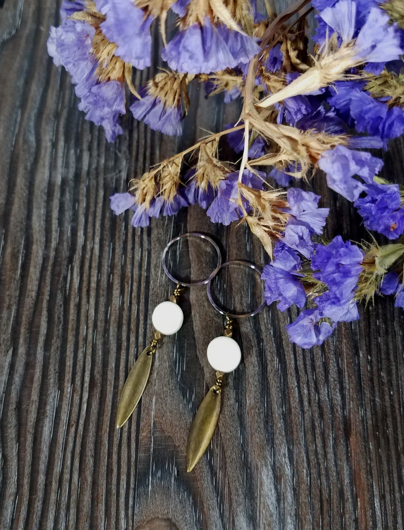 Hoop Earrings  Drop Earrings  Gold and White Earrings  Mixed Media Earrings  Gift Ideas