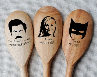 Ron Swanson Spoon Parks & Recreation spoons Set of 3 Batman spoons Funny Gift fan tv shows Parks and Rec Pop Culture Gift Christmas gift