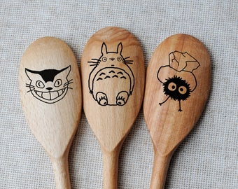 Totoro Spoons Easter gift My Neighbor Totoro Engraved wooden utensils Set of 3 cooking utensils Funny Gift for wife Cute Mother's day gift