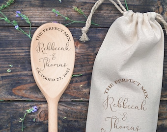 The Perfect Mix Mr And Mrs Personalized Custom Last Name Wood Mixing Spoon Wedding Gift Laser Engraved Wood Spoon Favor Bridal Shower Gift