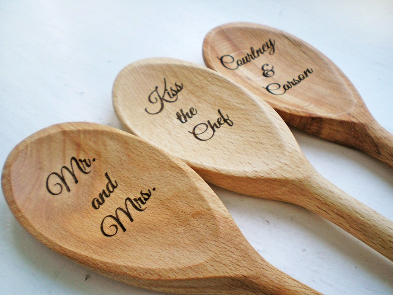 2 Custom Engraved Wood Spoons Personalized Bridal Shower Favor Wedding Favor Newlywed Event Prize Mr Mrs Anniversary Gift I Do Hostess Gift