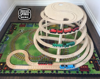 The Original Spiral by Mountain Spiral Railway! The ultimate natural wood train track accessory compatible with Thomas, Brio and Ikea sets!